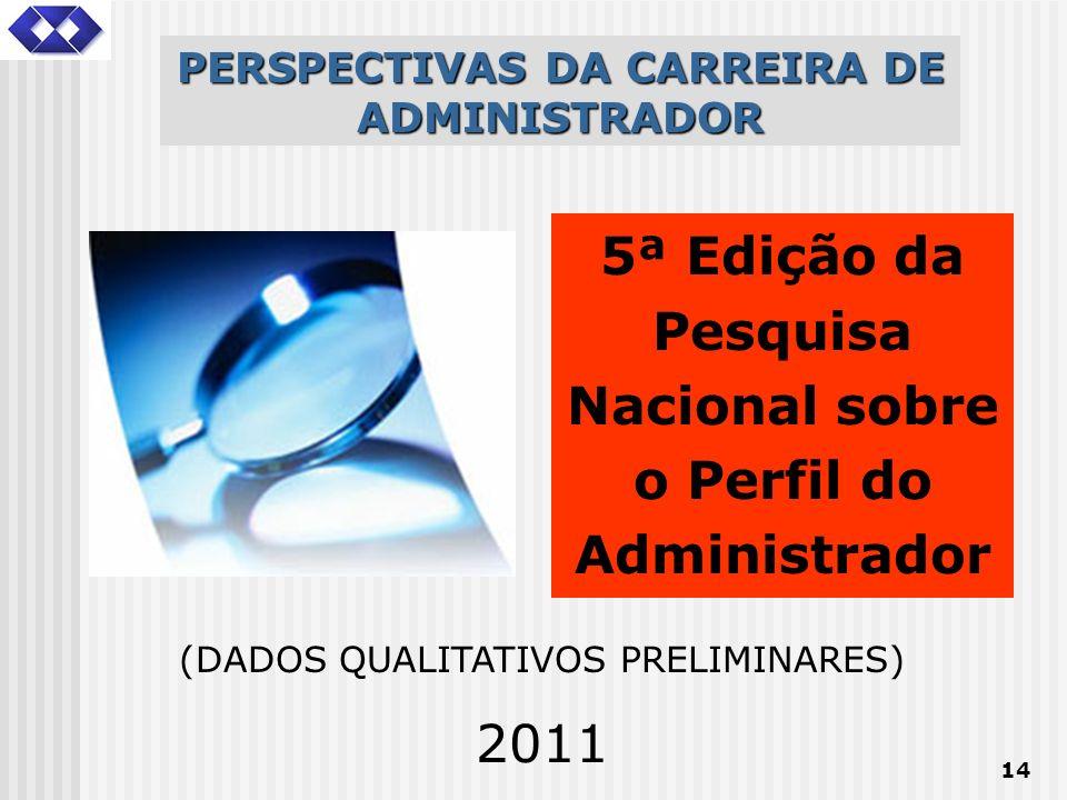 14 PERSPECTIVAS DA CARREIRA DE ADMINISTRADOR 5ª Edição da Pesquisa Nacional sobre o Perfil do Administrador (DADOS QUALITATIVOS PRELIMINARES) 2011