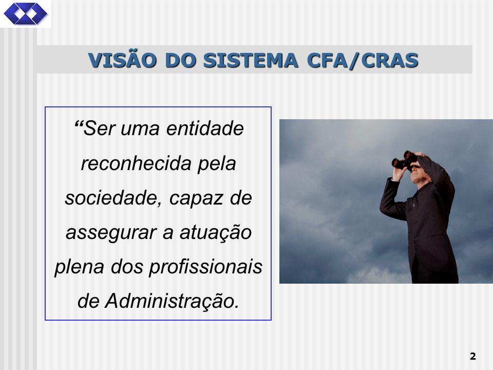 2 Ser uma entidade reconhecida pela sociedade, capaz de assegurar a atuação plena dos profissionais de Administração. VISÃO DO SISTEMA CFA/CRAS