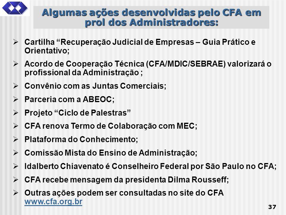 37 Algumas ações desenvolvidas pelo CFA em prol dos Administradores: Cartilha Recuperação Judicial de Empresas – Guia Prático e Orientativo; Acordo de