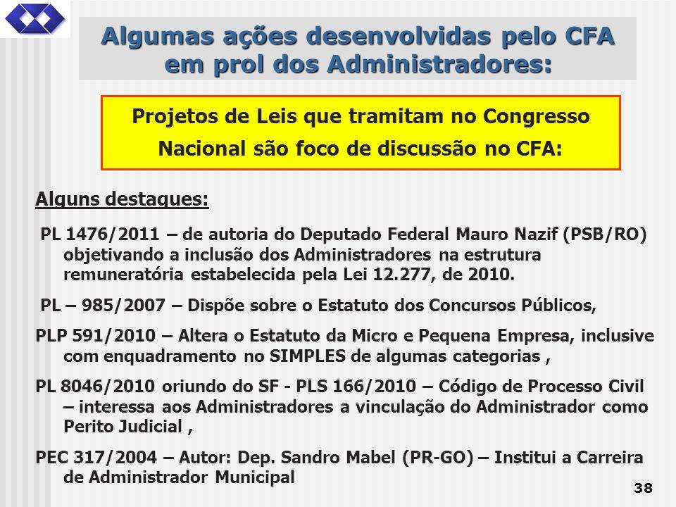 38 Alguns destaques: PL 1476/2011 – de autoria do Deputado Federal Mauro Nazif (PSB/RO) objetivando a inclusão dos Administradores na estrutura remune