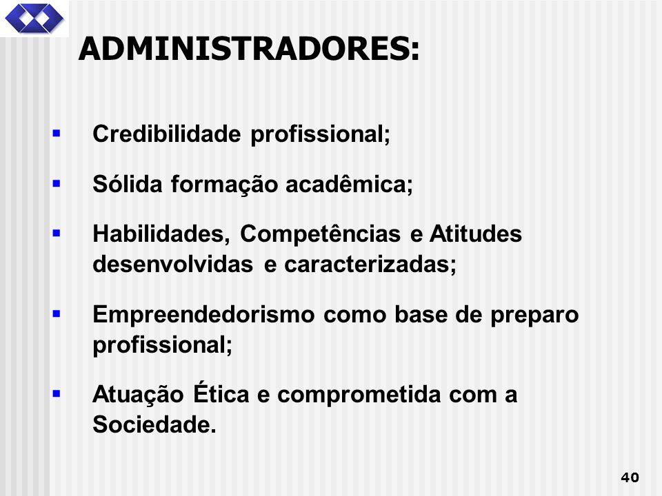 40 Credibilidade profissional; Sólida formação acadêmica; Habilidades, Competências e Atitudes desenvolvidas e caracterizadas; Empreendedorismo como b