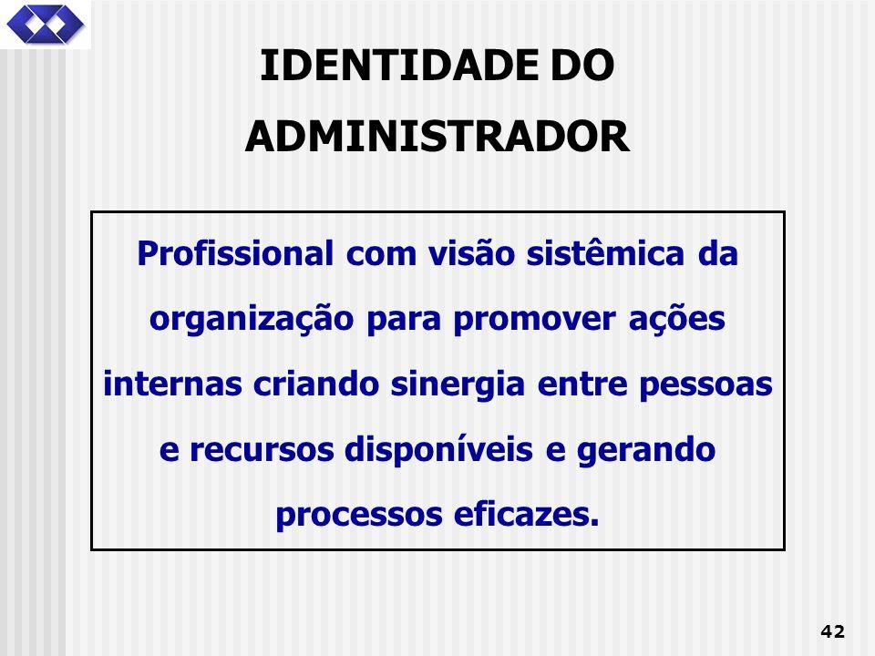 42 IDENTIDADE DO ADMINISTRADOR Profissional com visão sistêmica da organização para promover ações internas criando sinergia entre pessoas e recursos