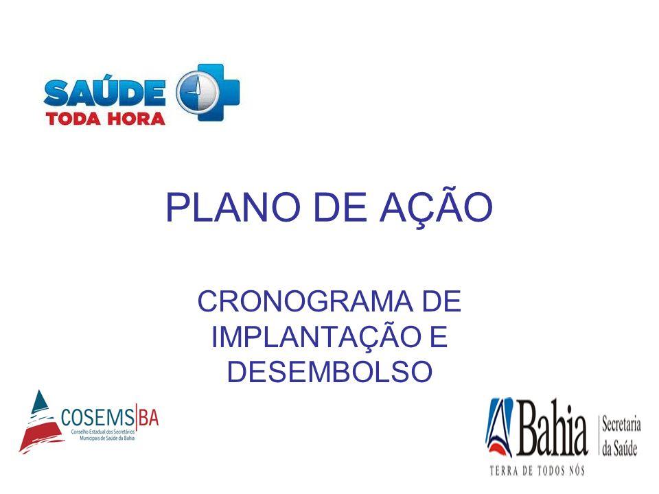 PLANO DE AÇÃO CRONOGRAMA DE IMPLANTAÇÃO E DESEMBOLSO