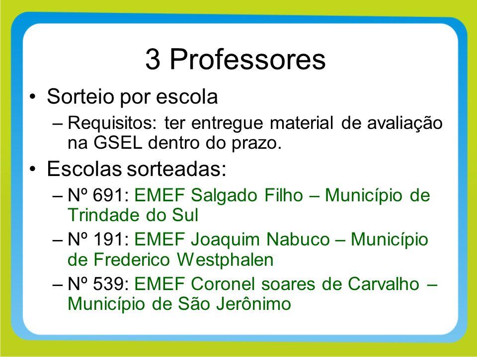 3 Professores Sorteio por escola –Requisitos: ter entregue material de avaliação na GSEL dentro do prazo. Escolas sorteadas: –Nº 691: EMEF Salgado Fil