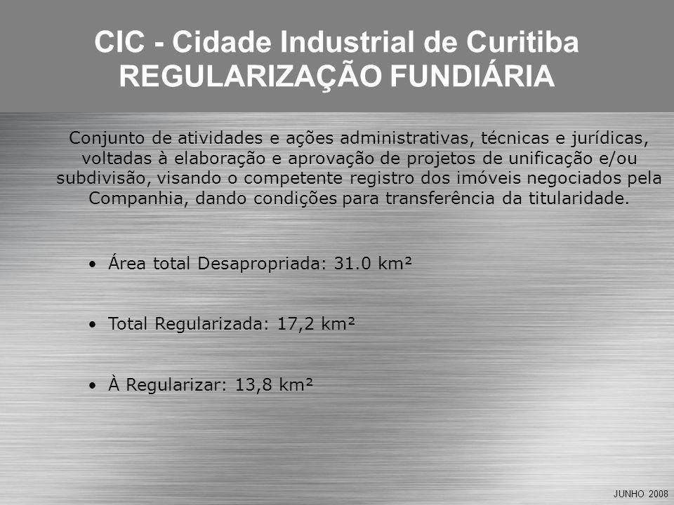 JUNHO 2008 Área total Desapropriada: 31.0 km² Total Regularizada: 17,2 km² À Regularizar: 13,8 km² CIC - Cidade Industrial de Curitiba REGULARIZAÇÃO F