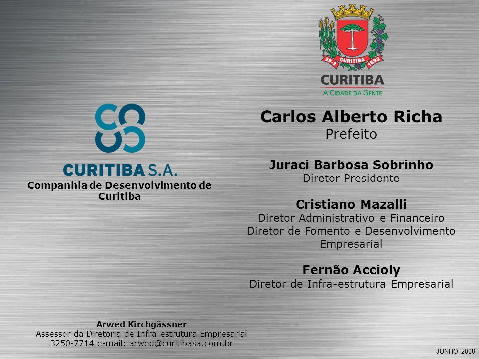 JUNHO 2008 Carlos Alberto Richa Prefeito Juraci Barbosa Sobrinho Diretor Presidente Cristiano Mazalli Diretor Administrativo e Financeiro Diretor de Fomento e Desenvolvimento Empresarial Fernão Accioly Diretor de Infra-estrutura Empresarial Companhia de Desenvolvimento de Curitiba Arwed Kirchgässner Assessor da Diretoria de Infra-estrutura Empresarial 3250-7714 e-mail: arwed@curitibasa.com.br