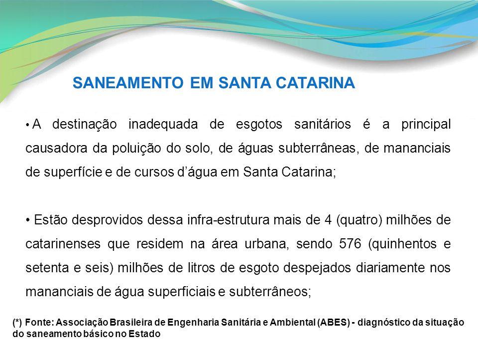SANEAMENTO EM SANTA CATARINA A destinação inadequada de esgotos sanitários é a principal causadora da poluição do solo, de águas subterrâneas, de mana