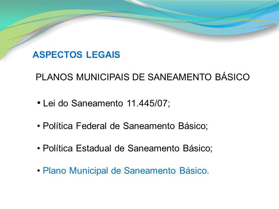 ASPECTOS LEGAIS PLANOS MUNICIPAIS DE SANEAMENTO BÁSICO Lei do Saneamento 11.445/07; Política Federal de Saneamento Básico; Política Estadual de Saneam