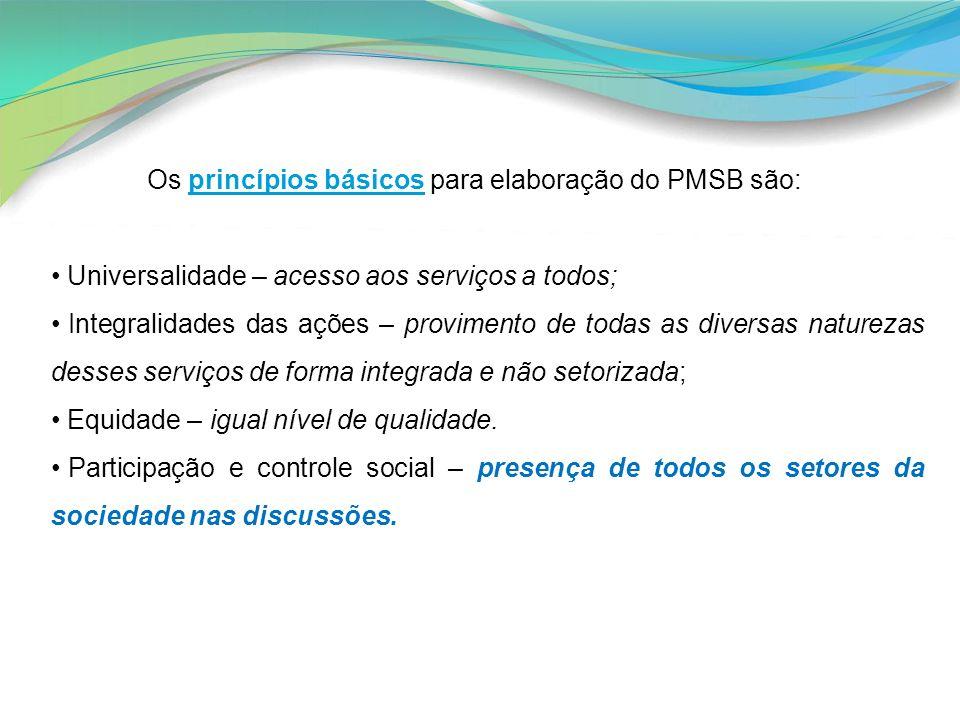Os princípios básicos para elaboração do PMSB são: Universalidade – acesso aos serviços a todos; Integralidades das ações – provimento de todas as div