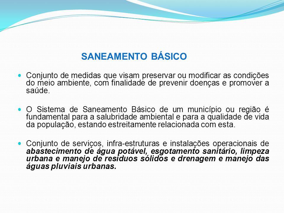 SANEAMENTO BÁSICO Conjunto de medidas que visam preservar ou modificar as condições do meio ambiente, com finalidade de prevenir doenças e promover a