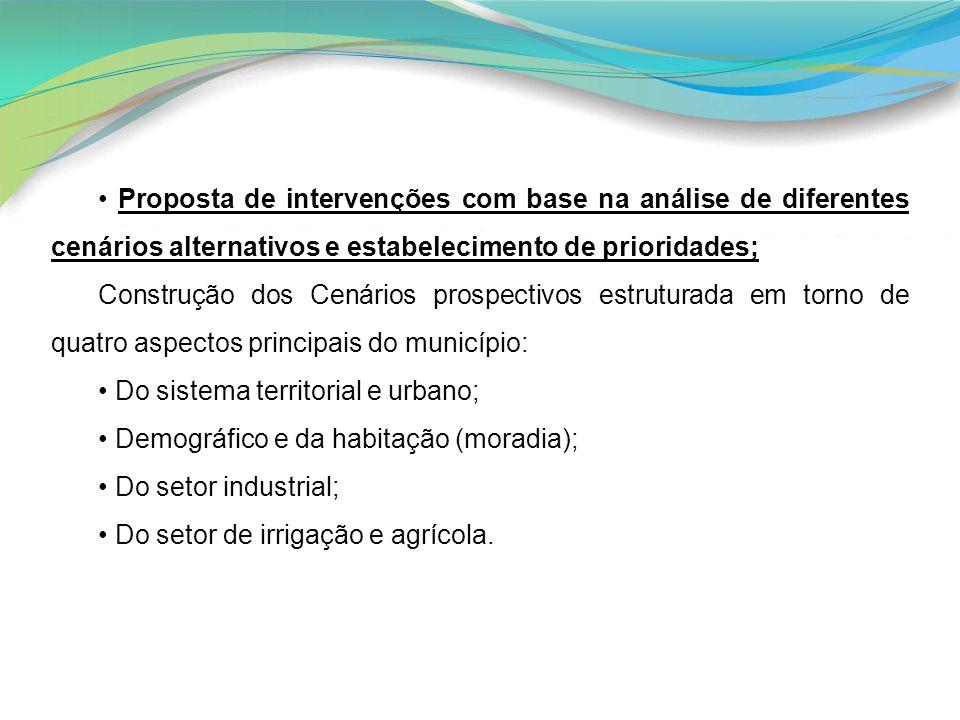 Proposta de intervenções com base na análise de diferentes cenários alternativos e estabelecimento de prioridades; Construção dos Cenários prospectivo