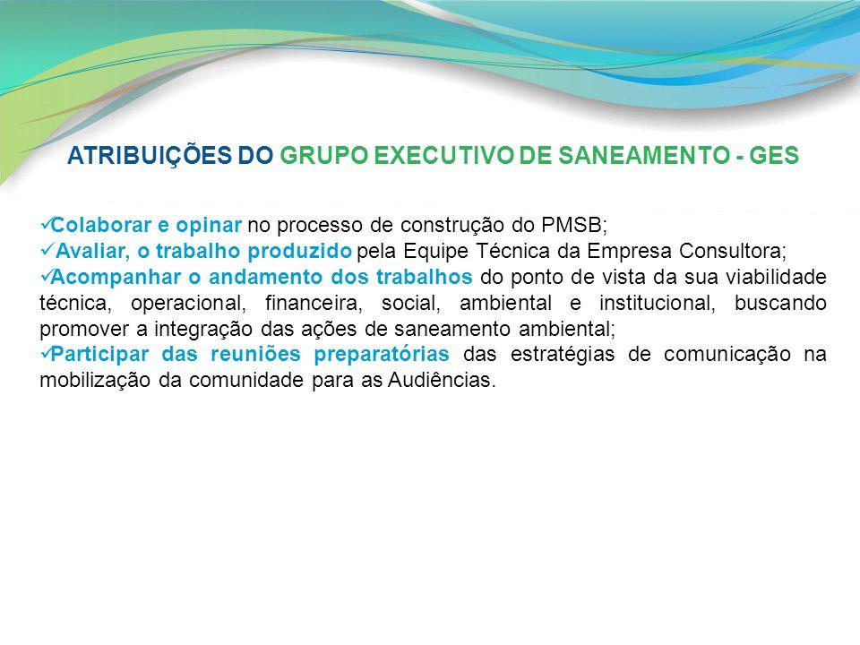 Colaborar e opinar no processo de construção do PMSB; Avaliar, o trabalho produzido pela Equipe Técnica da Empresa Consultora; Acompanhar o andamento