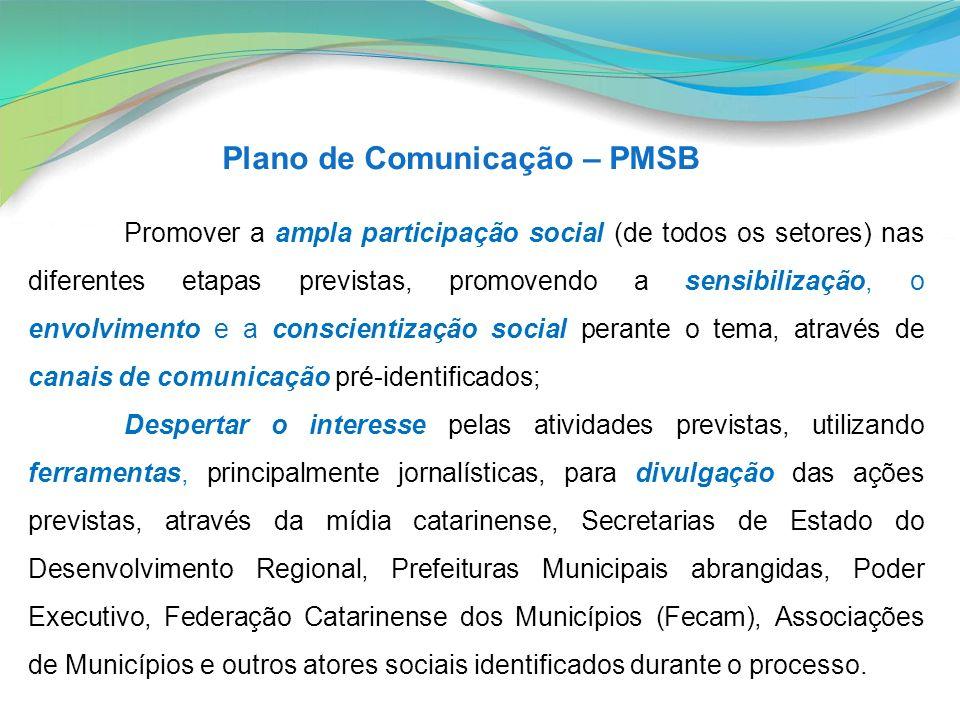 Plano de Comunicação – PMSB Promover a ampla participação social (de todos os setores) nas diferentes etapas previstas, promovendo a sensibilização, o