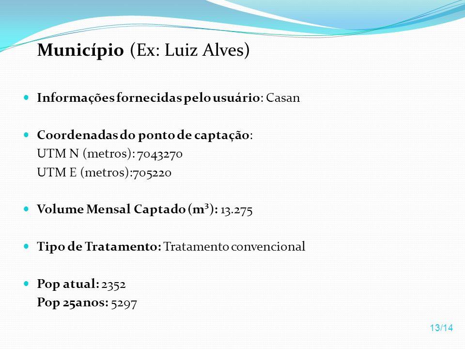 Município (Ex: Luiz Alves) Informações fornecidas pelo usuário: Casan Coordenadas do ponto de captação: UTM N (metros): 7043270 UTM E (metros):705220