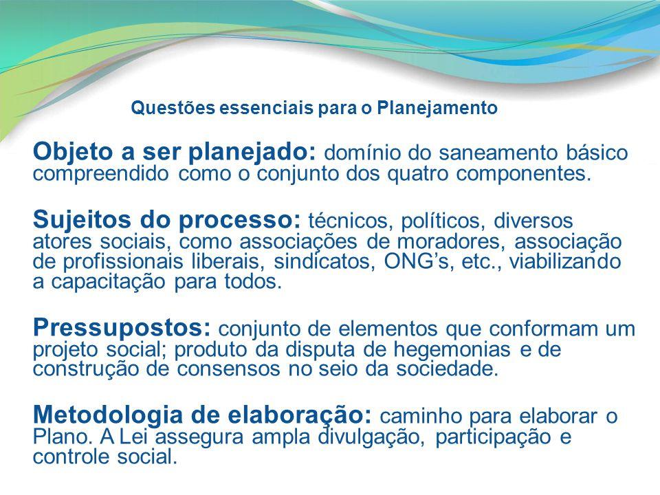 Questões essenciais para o Planejamento Objeto a ser planejado: domínio do saneamento básico compreendido como o conjunto dos quatro componentes. Suje