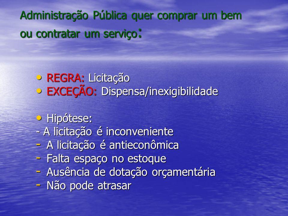 Administração Pública quer comprar um bem ou contratar um serviço : REGRA: Licitação REGRA: Licitação EXCEÇÃO: Dispensa/inexigibilidade EXCEÇÃO: Dispe