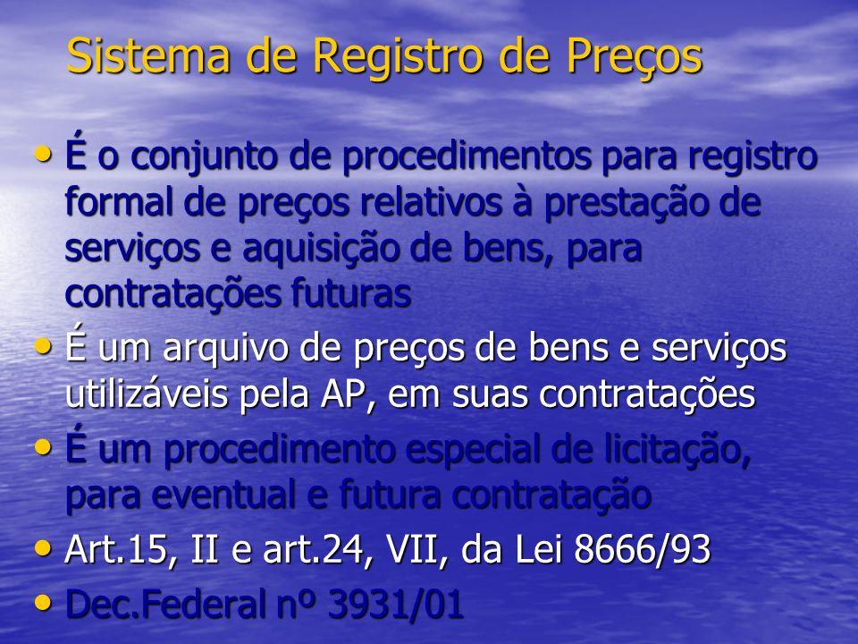 SISTEMA DE REGISTRO DE PREÇOS MODALIDADES MODALIDADES * art.3º do D.3931/01 - Concorrência – art.22, §1º, Lei 8666/93 - Pregão – art.11, Lei 10520/02 CARACTERÍSTICAS CARACTERÍSTICAS - Para futura e eventual contratação - Procedimento especial de licitação - Não estará obrigada a adquirir o objeto - Não está obrigada a utilizar o SRP existente - Garante a isonomia com mais eficiência