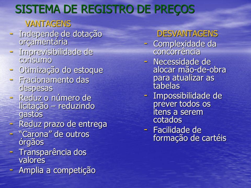 SISTEMA DE REGISTRO DE PREÇOS VANTAGENS VANTAGENS - Independe de dotação orçamentária - Imprevisibilidade de consumo - Otimização do estoque - Fracion