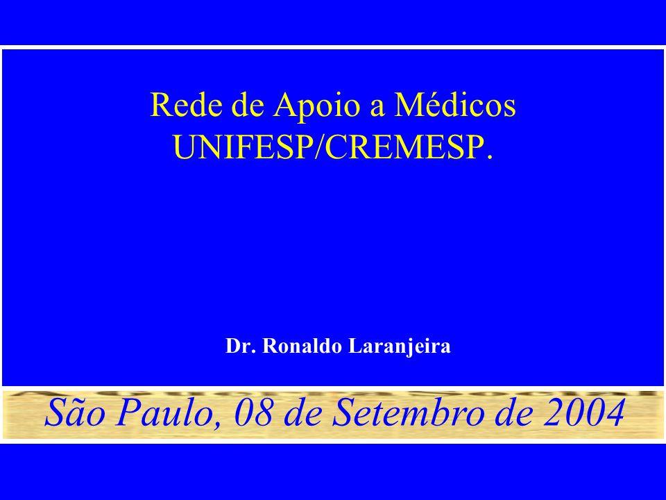 Rede de Apoio a Médicos UNIFESP/CREMESP. Dr. Ronaldo Laranjeira São Paulo, 08 de Setembro de 2004