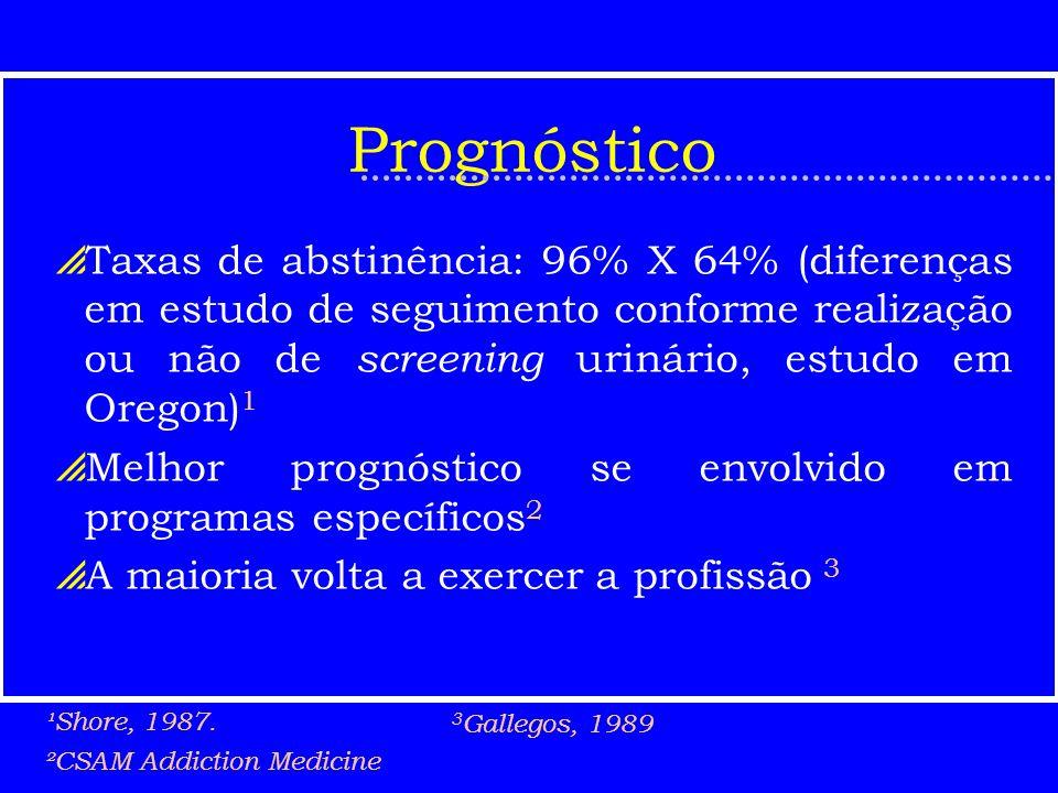 Prognóstico Taxas de abstinência: 96% X 64% (diferenças em estudo de seguimento conforme realização ou não de screening urinário, estudo em Oregon) 1