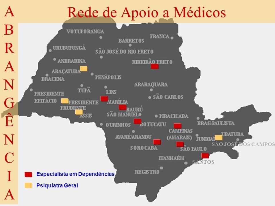 SÃO JOSÉ DOS CAMPOS Rede de Apoio a Médicos ABRANGÊNCIAABRANGÊNCIA SANTOS Especialista em Dependências Psiquiatra Geral