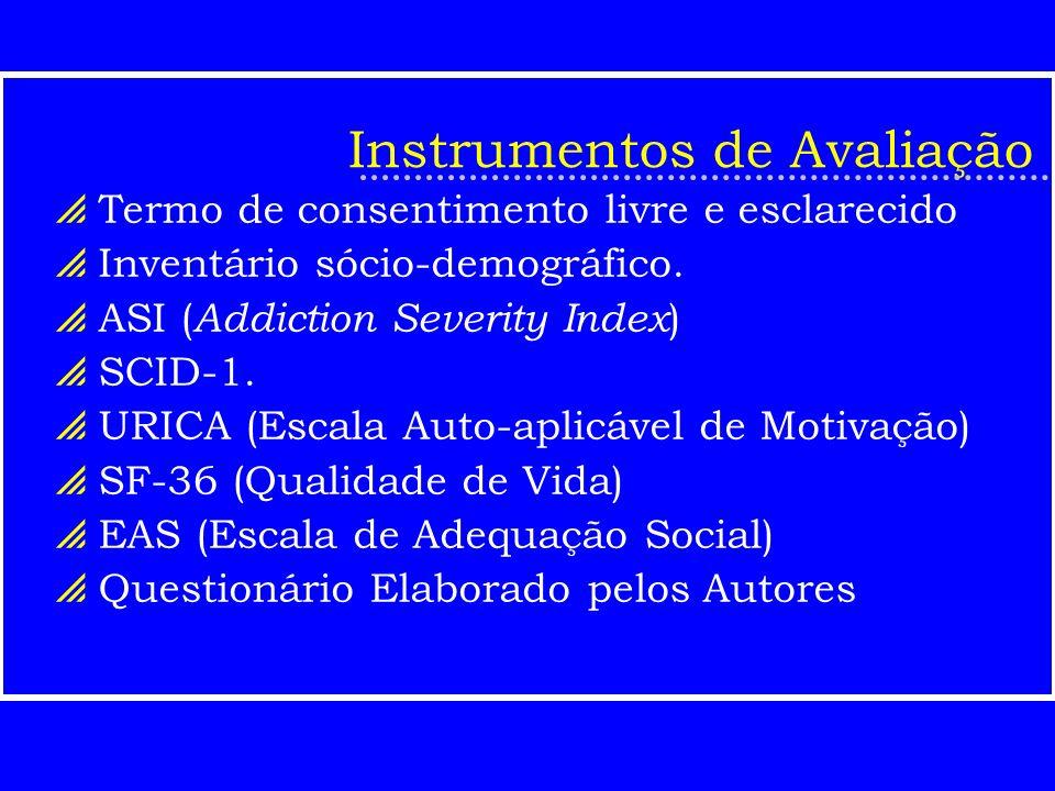 Instrumentos de Avaliação Termo de consentimento livre e esclarecido Inventário sócio-demográfico. ASI ( Addiction Severity Index ) SCID-1. URICA (Esc