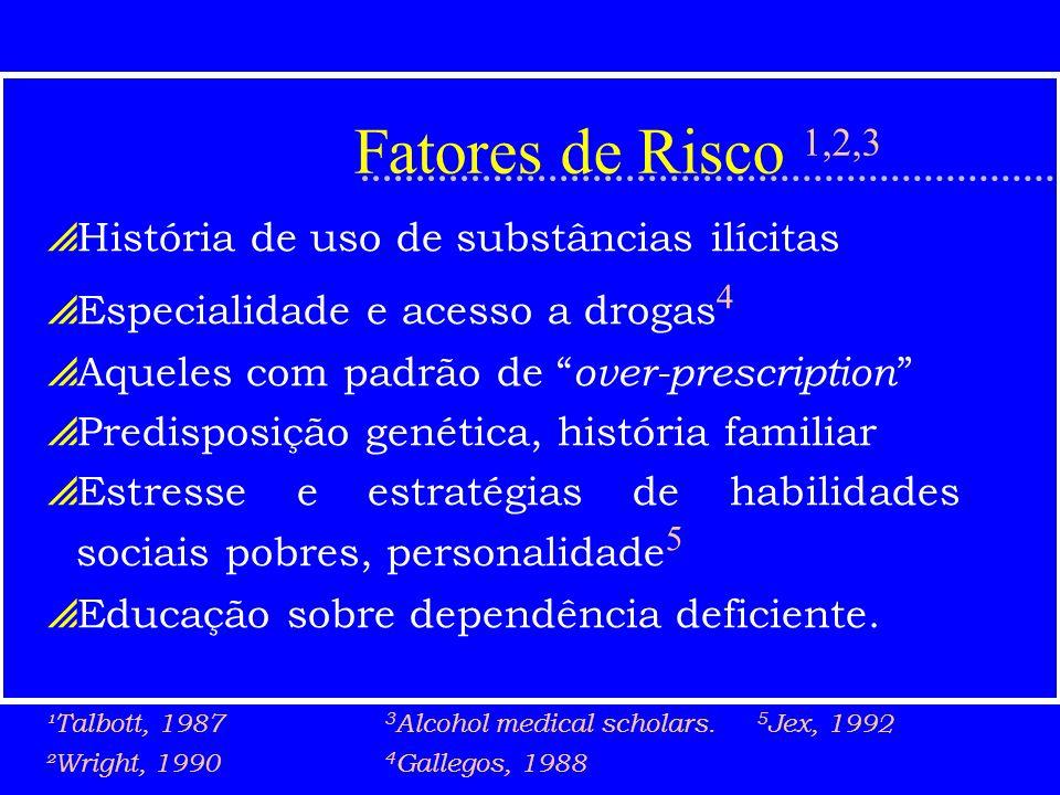 Fatores de Risco 1,2,3 História de uso de substâncias ilícitas Especialidade e acesso a drogas 4 Aqueles com padrão de over-prescription Predisposição