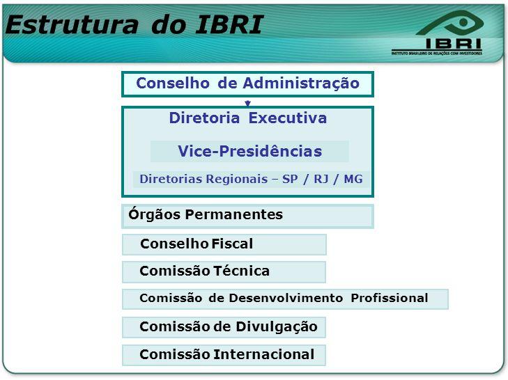 Conselho de Administração Diretoria Executiva Conselho Fiscal Comissão Técnica Comissão de Desenvolvimento Profissional Comissão de Divulgação Órgãos
