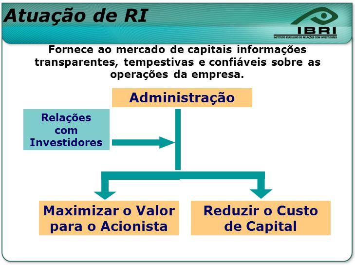 Administração Maximizar o Valor para o Acionista Relações com Investidores Fornece ao mercado de capitais informações transparentes, tempestivas e con