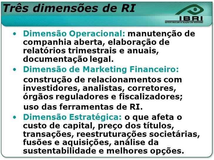 Três dimensões de RI Dimensão Operacional: manutenção de companhia aberta, elaboração de relatórios trimestrais e anuais, documentação legal. Dimensão