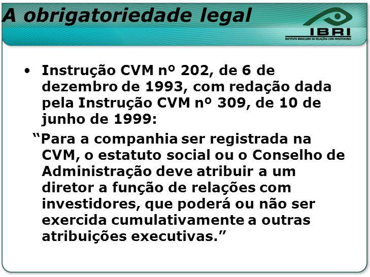 A obrigatoriedade legal Instrução CVM nº 202, de 6 de dezembro de 1993, com redação dada pela Instrução CVM nº 309, de 10 de junho de 1999: Para a com