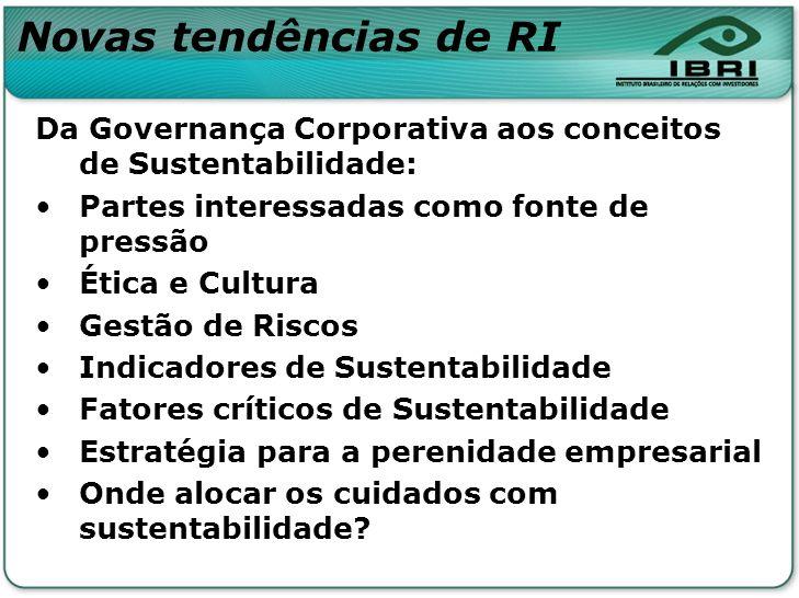 Novas tendências de RI Da Governança Corporativa aos conceitos de Sustentabilidade: Partes interessadas como fonte de pressão Ética e Cultura Gestão d