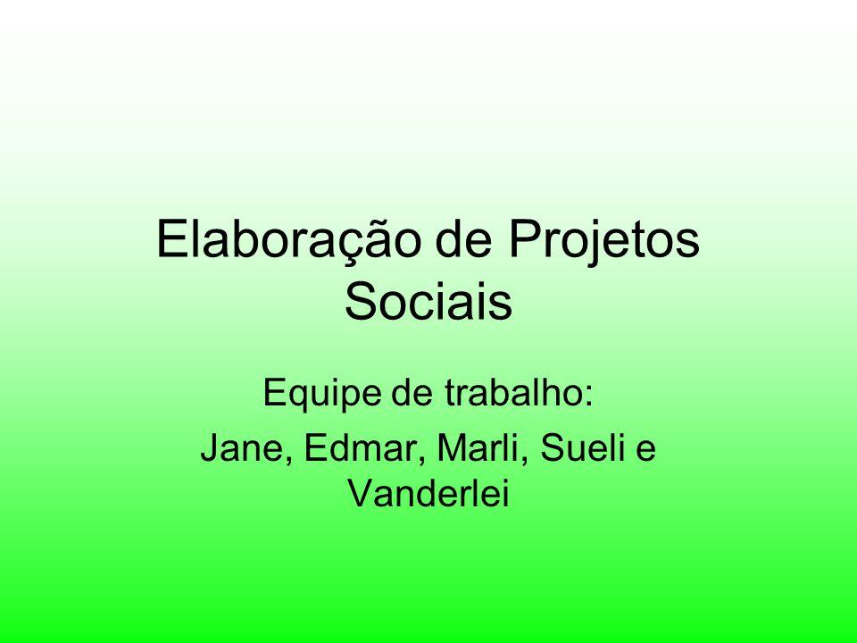 Elaboração de Projetos Sociais Equipe de trabalho: Jane, Edmar, Marli, Sueli e Vanderlei
