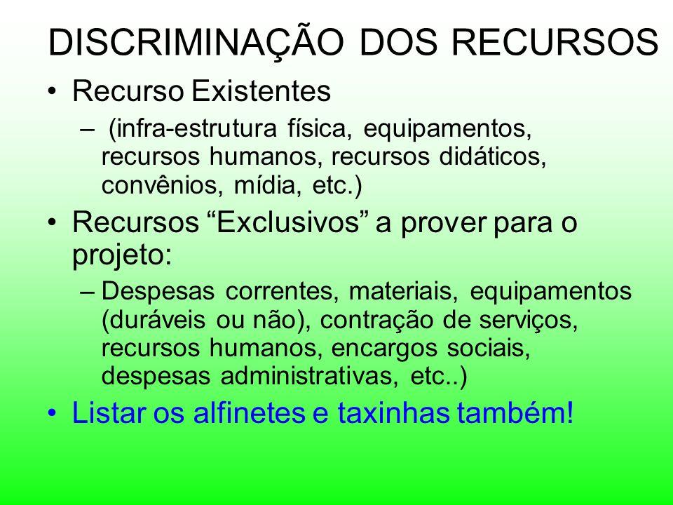 DISCRIMINAÇÃO DOS RECURSOS Recurso Existentes – (infra-estrutura física, equipamentos, recursos humanos, recursos didáticos, convênios, mídia, etc.) R