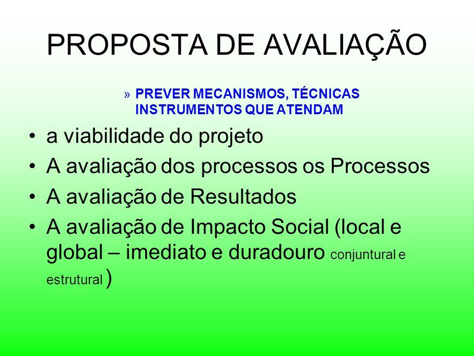 PROPOSTA DE AVALIAÇÃO »PREVER MECANISMOS, TÉCNICAS INSTRUMENTOS QUE ATENDAM a viabilidade do projeto A avaliação dos processos os Processos A avaliaçã