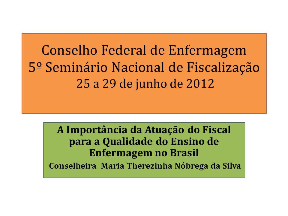 Conselho Federal de Enfermagem 5º Seminário Nacional de Fiscalização 25 a 29 de junho de 2012 A Importância da Atuação do Fiscal para a Qualidade do E