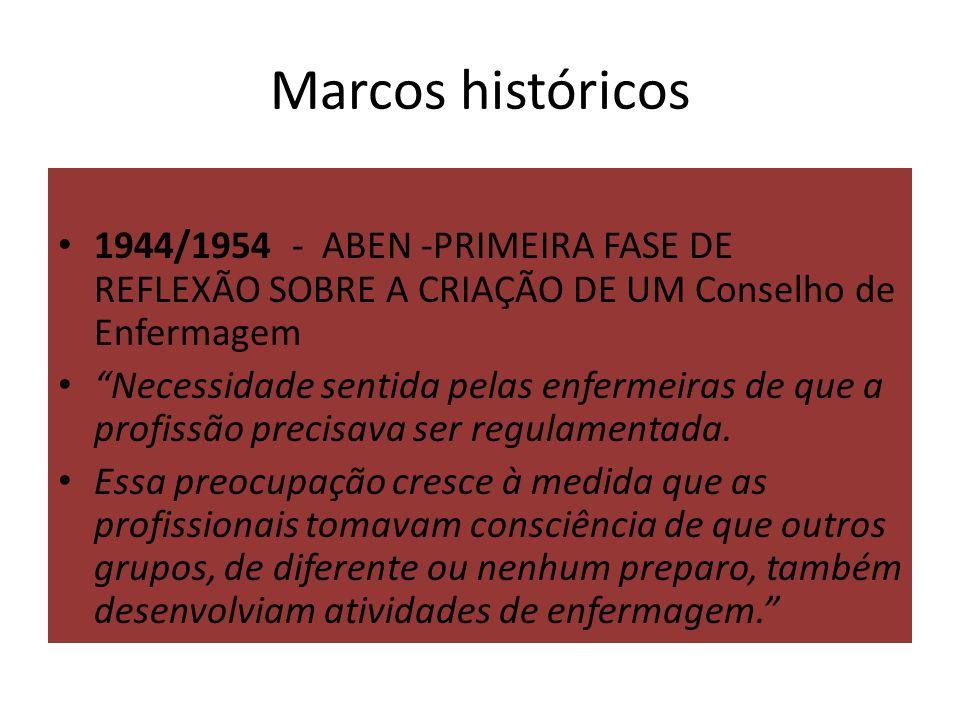 Marcos históricos 1944/1954 - ABEN -PRIMEIRA FASE DE REFLEXÃO SOBRE A CRIAÇÃO DE UM Conselho de Enfermagem Necessidade sentida pelas enfermeiras de que a profissão precisava ser regulamentada.
