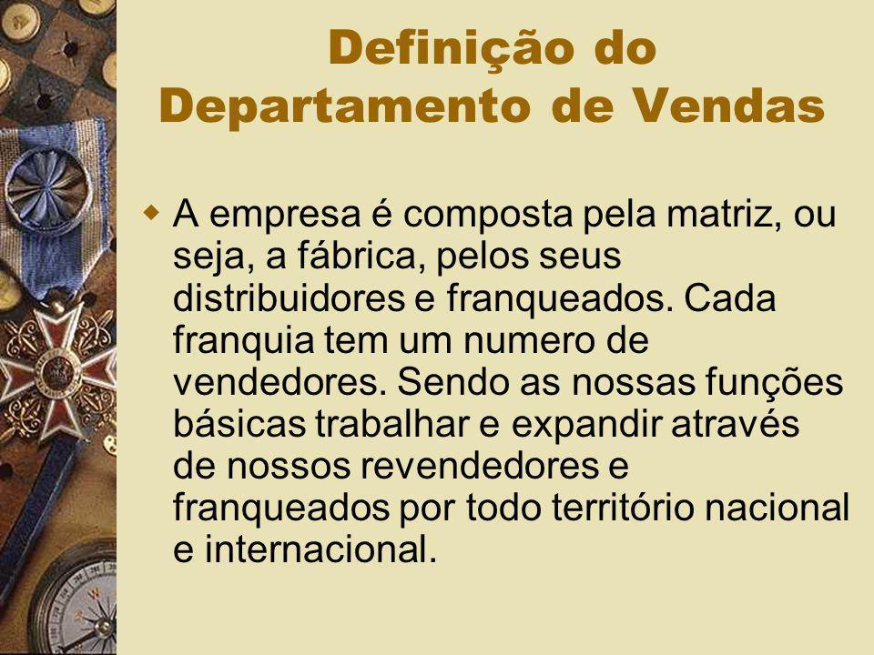 Definição do Departamento de Vendas A empresa é composta pela matriz, ou seja, a fábrica, pelos seus distribuidores e franqueados. Cada franquia tem u