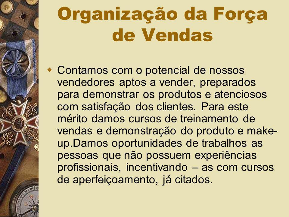 Organização da Força de Vendas Contamos com o potencial de nossos vendedores aptos a vender, preparados para demonstrar os produtos e atenciosos com s