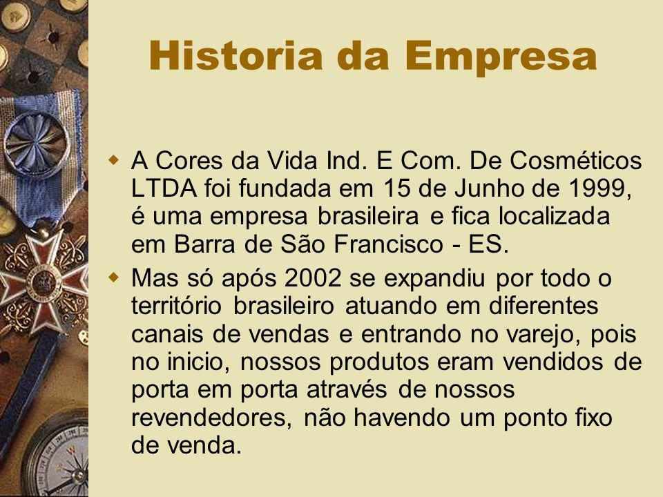 Historia da Empresa A Cores da Vida Ind. E Com. De Cosméticos LTDA foi fundada em 15 de Junho de 1999, é uma empresa brasileira e fica localizada em B