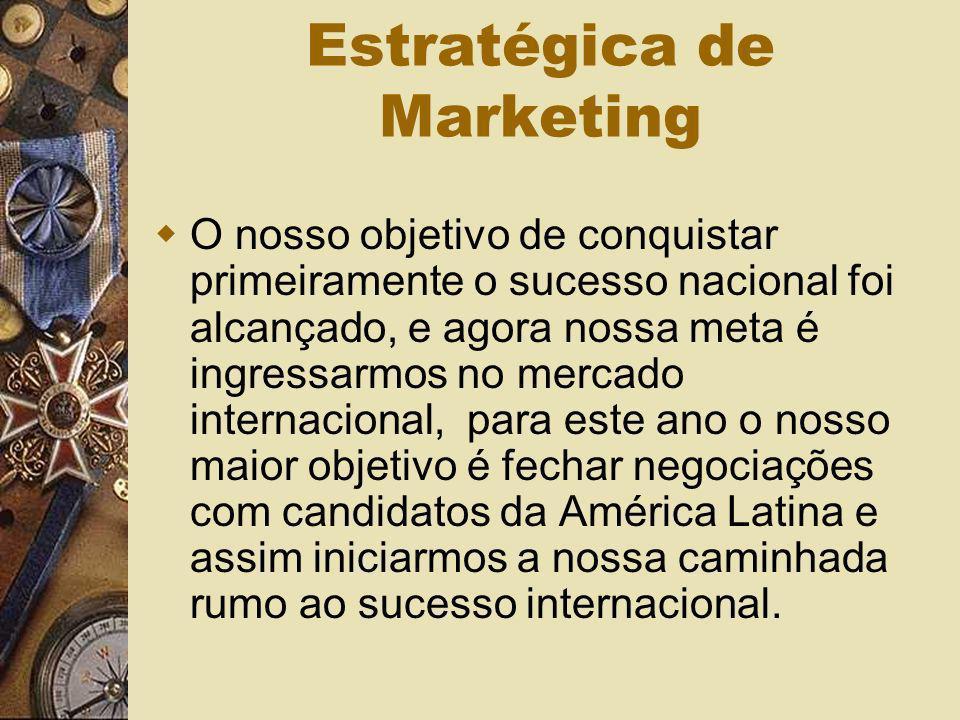 Estratégica de Marketing O nosso objetivo de conquistar primeiramente o sucesso nacional foi alcançado, e agora nossa meta é ingressarmos no mercado i