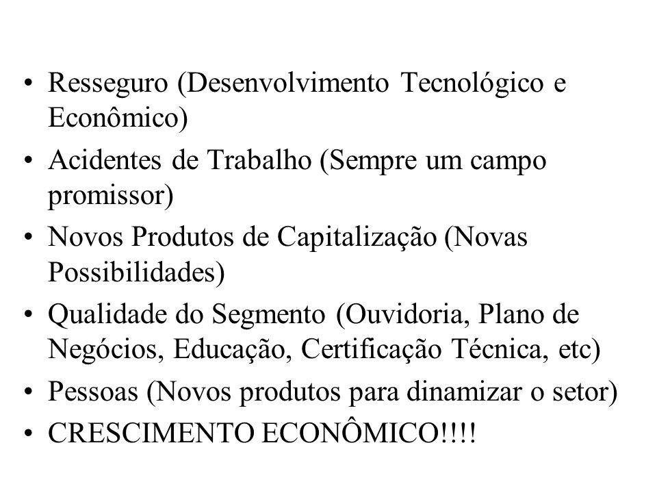 Resseguro (Desenvolvimento Tecnológico e Econômico) Acidentes de Trabalho (Sempre um campo promissor) Novos Produtos de Capitalização (Novas Possibili