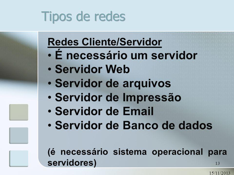 15/11/2013 13 Redes Cliente/Servidor É necessário um servidor Servidor Web Servidor de arquivos Servidor de Impressão Servidor de Email Servidor de Ba