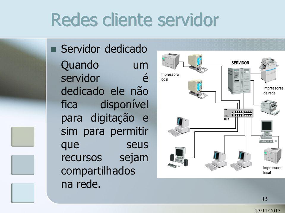 15/11/2013 15 Servidor dedicado Quando um servidor é dedicado ele não fica disponível para digitação e sim para permitir que seus recursos sejam compa