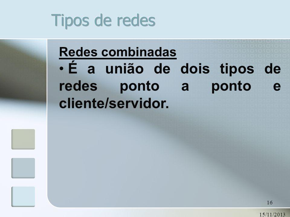 15/11/2013 16 Redes combinadas É a união de dois tipos de redes ponto a ponto e cliente/servidor.