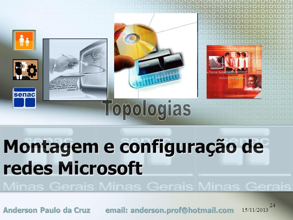 15/11/2013 24 Montagem e configuração de redes Microsoft