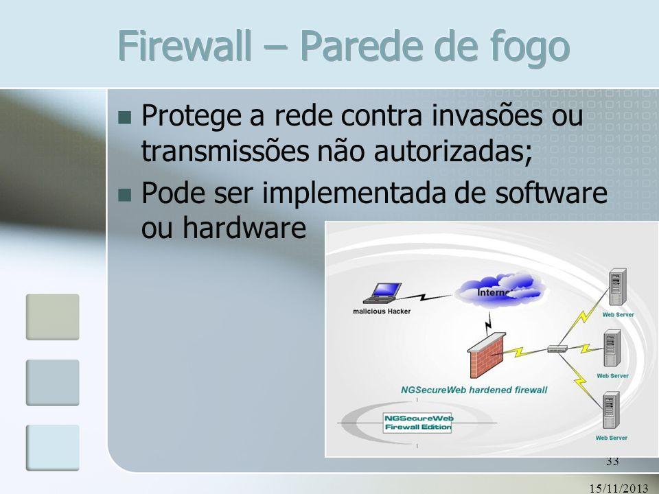 15/11/2013 33 Protege a rede contra invasões ou transmissões não autorizadas; Pode ser implementada de software ou hardware