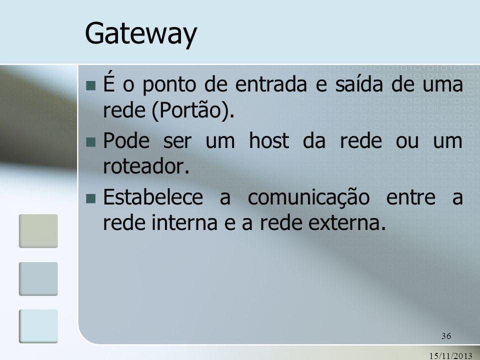 15/11/2013 36 Gateway É o ponto de entrada e saída de uma rede (Portão). Pode ser um host da rede ou um roteador. Estabelece a comunicação entre a red