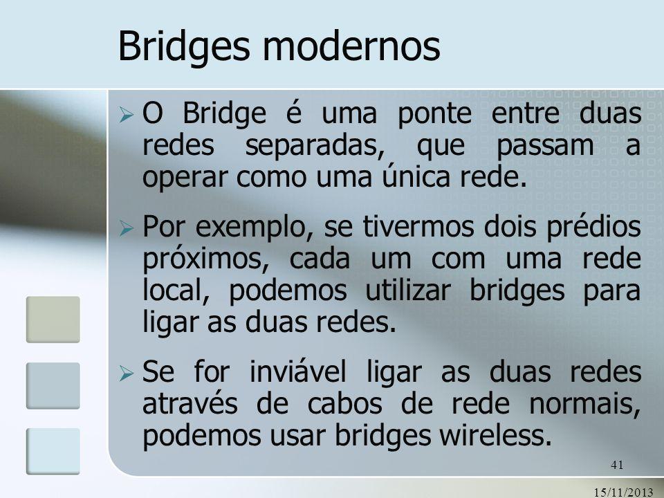 15/11/2013 41 Bridges modernos O Bridge é uma ponte entre duas redes separadas, que passam a operar como uma única rede. Por exemplo, se tivermos dois