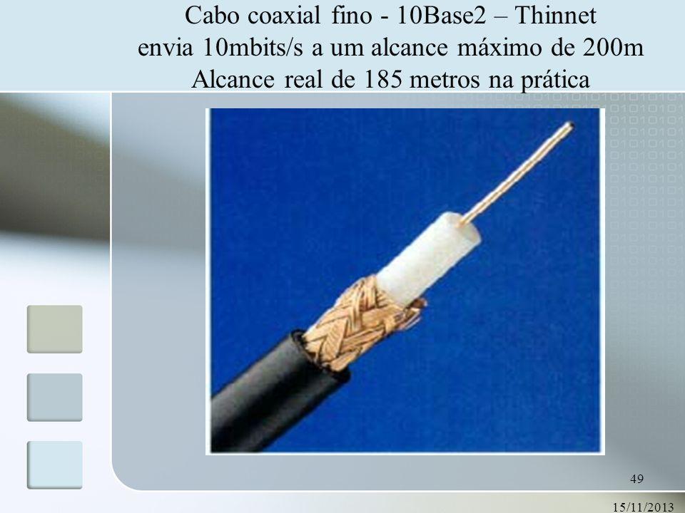 15/11/2013 49 Cabo coaxial fino - 10Base2 – Thinnet envia 10mbits/s a um alcance máximo de 200m Alcance real de 185 metros na prática